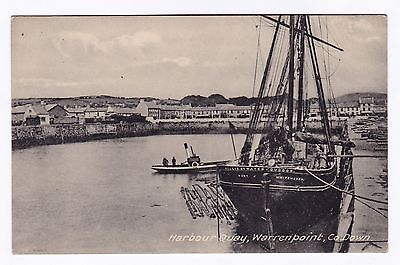 P3465 Original old postcard of Harbour Quay, Warrenpoint, Co Down