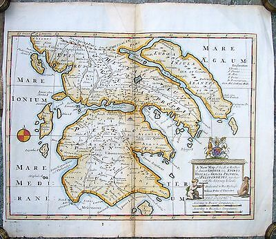 Antique Rare Map Of So And Mid Parts Of Ancient Greece By Edward Wells 1710