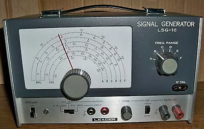 Leader RF Signal Generator Model LSG-16 with Test Cable and Manual