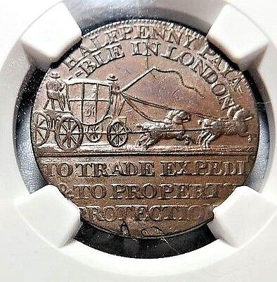"""Ms-64 -  Middlesex  -  """" Mail Coach """"  -  Conder Token --  Dh-366   1/2P   Ngc"""