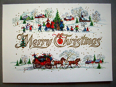 Town celebrates Holiday days  CHRISTMAS VINTAGE GREETING CARD *O