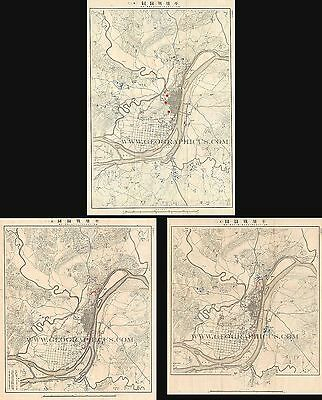 Set Of 3 1894 Situation Maps Of The First Sino-Japanese War Battle Of Pyongyang