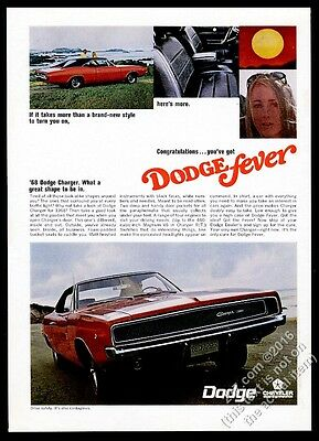 1968 Dodge Charger red car 3 color photo vintage print ad