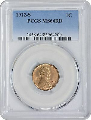 1912-S Lincoln Cent MS64RD PCGS Mint State 64 Red