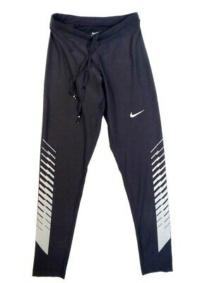 Nike Dri Fit Black Reflective Long Running Tights Men's NWT