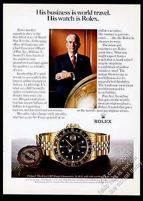 1981 Rolex GMT-Master watch Pan Am airlines CEO William T Seawell photo print ad