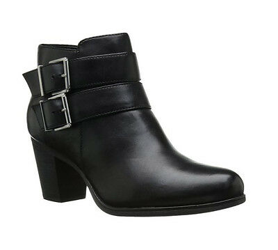 New Clarks Women's Palma Rena Ankle Boot Black Leather 9.5
