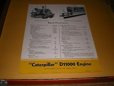 Old Caterpillar Tractor Co D11000 Engine Specifications Sheet Brochure