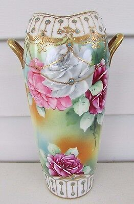 Nippon Hand Painted Floral Red Pink White Roses w/ Gold Trim Vase Japan