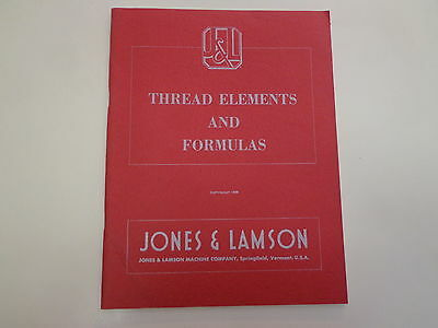 Jones & Lamson Thread Elements and Formulas 1953 Machinist Reference Book