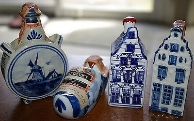 Delft Mini Figural Bottle Lot of 4 Rynbende's Dutch Holland House Windmill Shoe