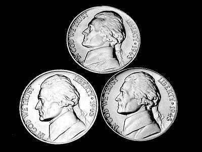 1943 P-D-S  Choice/Gem BU  Silver Jefferson Nickels  Three Coin Set  Group#18