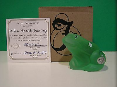 LENOX FENTON WILLOW the LITTLE GREEN FROG  Art Glass NEW in BOX with COA