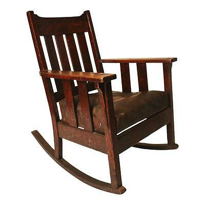Vintage WOOD ROCKER rocking chair MISSION oak Arts & Crafts antique early wooden
