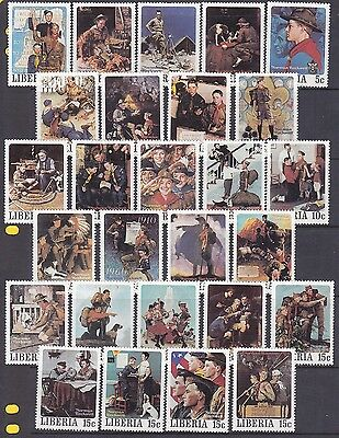 Liberia 853-857 MNH OG 1979 Norman Rockwell Scouting Complete Set of 50 Stamps