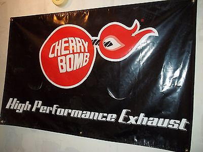 Vintage Cherry Bomb High Performance Exhaust 34 X 54 Banner Advertising Rat Rod