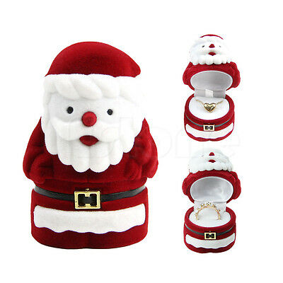 New Santa Claus Jewelry Box Xmas Gift Ring Earring Necklace Case Holder