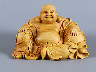 TJ122 - 6 X 9.5 X 7 CM Carved Boxwood Carving Figurine : Buddha Monk Seat