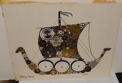"""C.brown """"Viking Ship"""" Watch Parts Painting Signed"""