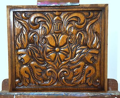 CARVED WOOD PANEL ANTIQUE FRENCH MAN GOTHIC SALVAGED CARVING FURNITURE DECOR c