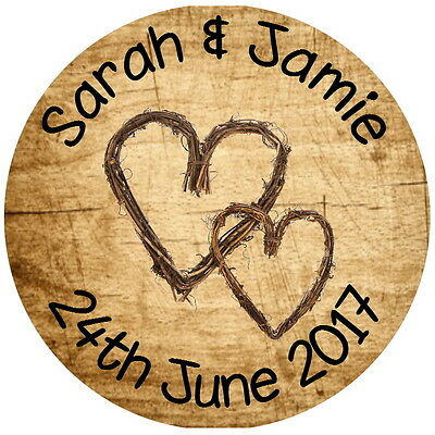 Personalised Gloss Quality Wedding,engagement Labels Shabby Chic Hearts