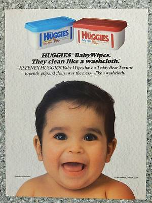 1991 Huggies Baby Wipes - Vintage Magazine Ad Page - Cute Happy Baby