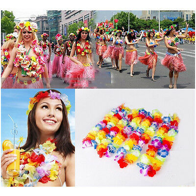 10pcs Flower leis Garland Necklace Fancy Dress Party Hawaii Beach Fun Colorful