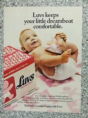 1982 Luvs Diapers - Vintage Magazine Ad Page - Cute Baby Playing with Foot