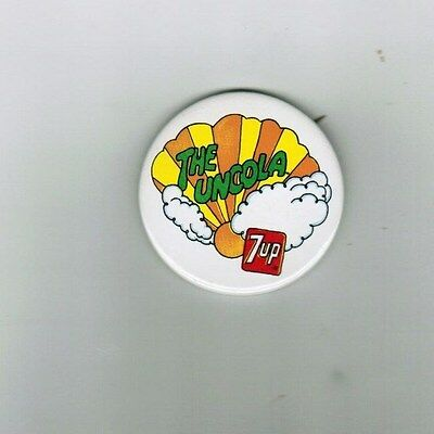 """Uncola 7 Up Seven Up Advertising 2 1/4""""  Pin Button"""
