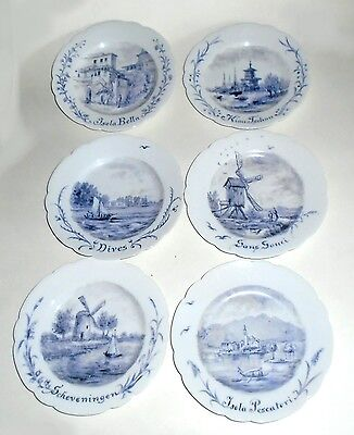 Set of 6 Antique Hand Painted Plates  Artist initialed EH dated 1898
