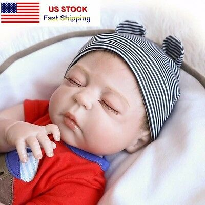 "22"" Full Body Silicone Reborn Doll Vinyl Lifelike Newborn Baby Sleeping Boy"