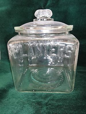 1930s Planters Peanuts Square Counter Jar With Lid