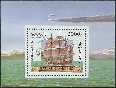 LAOS Bloc N°141 ** Bf Bateau voilier, 1997, ship, sailboat Sheet MNH