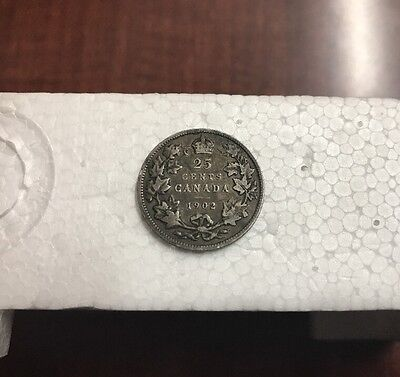 1902 Canada 25 Cents Coin Silver