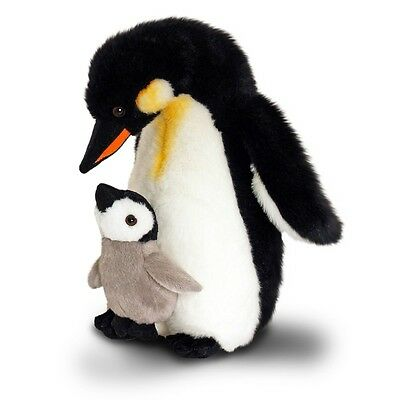 30cm Mother & Baby Penguin Soft Toy - Keel Toys Wild Cuddly Plush Teddy Sw4645