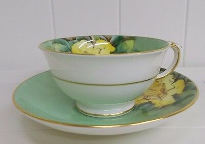 "Kw-199 Staffordshire Crown ""cup Of Gold"" Tea Cup Saucer Set"