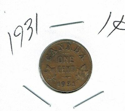 1931 Canadian Circulated George V One  Small Cent coin!