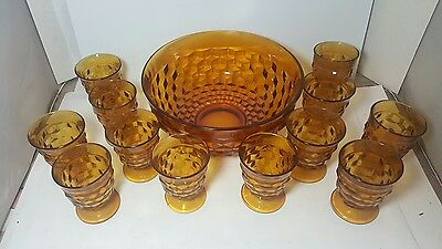 Vintage FOSTORIA AMERICA Amber Glass PUNCH BOWL with 12 FOOTED CUPS Orange