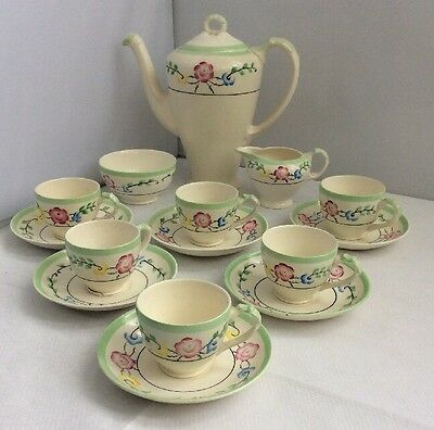 Vintage 1930s Art Deco Hand painted Empire China Coffee Set