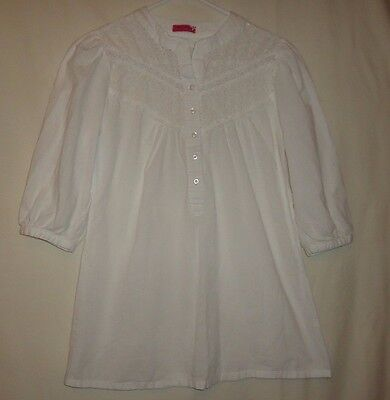 Junior's Size L White Short Sleeve 100% Cotton Casual Tunic Blouse Top