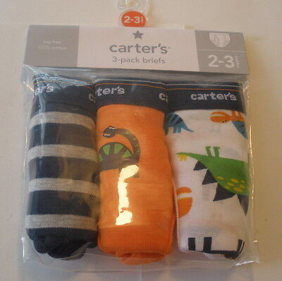 Carters Boys 3 Pack Briefs Nwt Size 2 3 Toddler  Dinosaur Theme