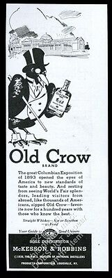 1936 Old Crow Bourbon whiskey black bird in top hat art vintage print ad