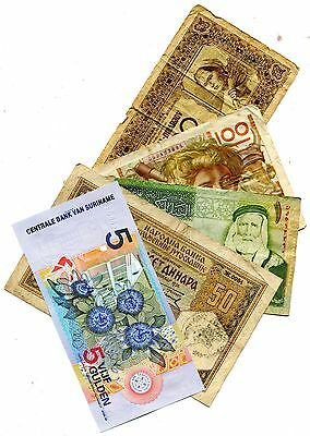 Suriname Plus 4 Other Different Foreign Banknotes Vg Or Better Nr 3.95