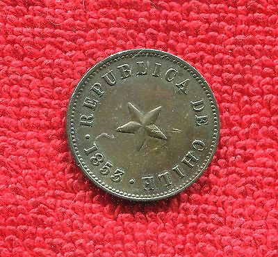 Chile 1/2 Cent Km 126 1853 Xf Nr 8.95