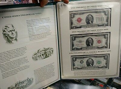 TWO-DOLLAR NOTES FOLIO POSTAL SOCIETY. .1928 1953 1976 2003 uncut currency block
