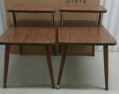 PAIR OF END TABLES Formica Top 2 tier retro  shipping varies location ask