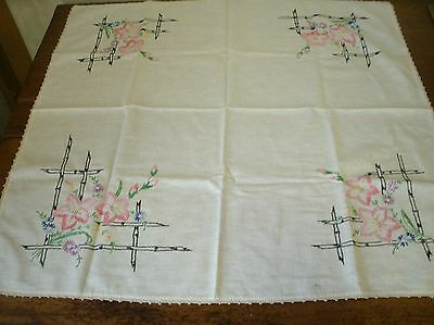 Vintage Hand Embroidered Tablecloth trellis floral - 32 x 33