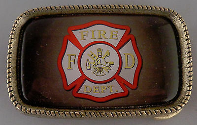 FIRE DEPT Maltese Cross Antique Gold Belt Buckle MADE IN THE USA!