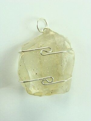 """1.2""""/30mm Libyan Gold Tektite sterling silver wire wrapped Pendant  #519"""