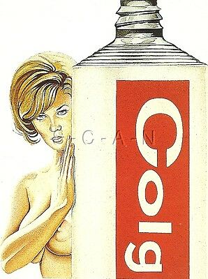 1970s Style Nude Pinup Artistic PC- Mel Ramos- Blond- Holds Colgate Toothpaste